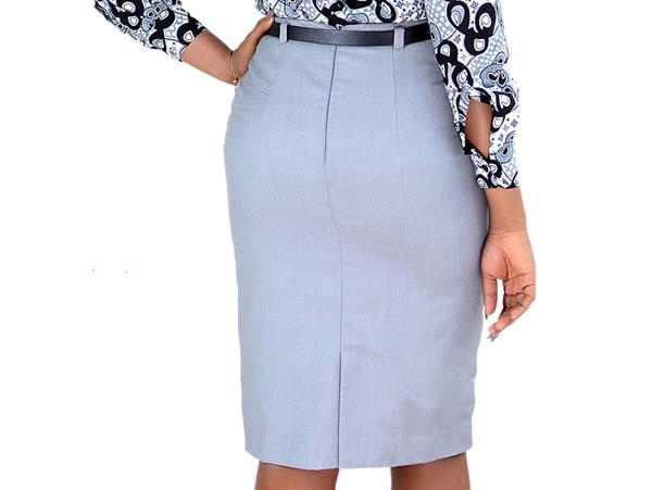 Wool Pencil Skirt with Skinny Waist Belt Grey