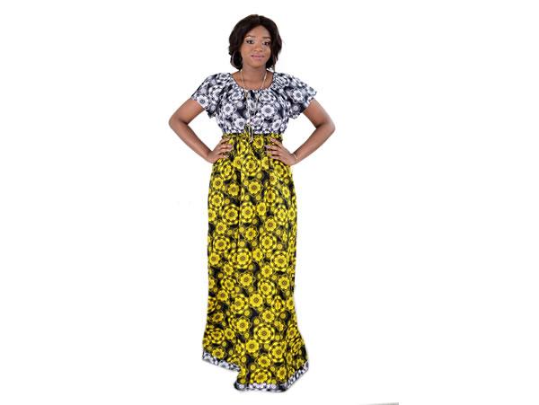Bohemian Dress Long Yellow / White Mix