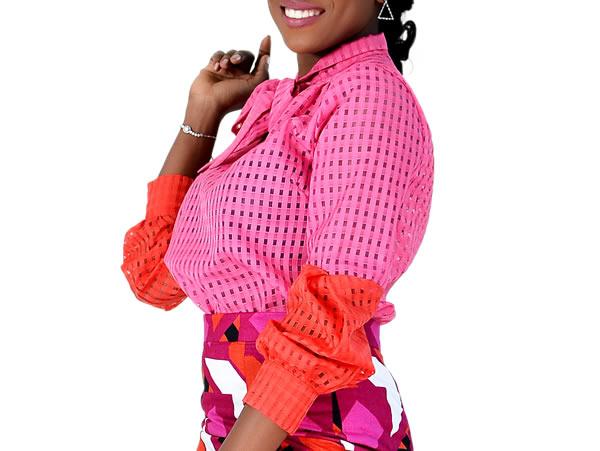 Organza Baloon Sleeve Top Pink/Red